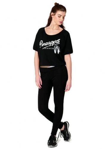 PINEAPPLE DANCEWEAR Womens Dance Slouchy Tee Top with Ballet Shoe Print Black